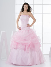 Pink Tulle Strapless Floor Length Princess Prom Dress