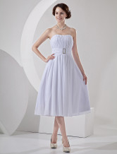 Short Strapless Pleated Chiffon Mini Wedding Dress For Reception