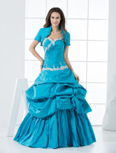 Sweet Blue Taffeta Floor Length Princess Prom Dress