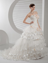 White Rococo Ball Gown Strapless Multi-Layer Net Flower Wedding Dress
