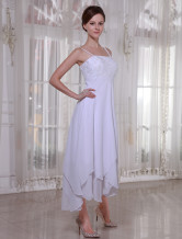 White Satin And Chiffon Empire Waist Wedding Dress