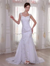 White Sheath Sweep Satin Chiffon Wedding Dress