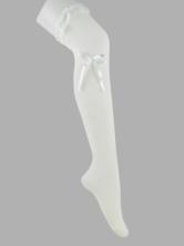 Lolitashow White Cotton Lolita Thigh Socks Lace Trim Lace Ribbon