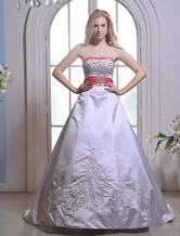 Elegant A-line Strapless Sweetheart Sash Beaded Embroidery Satin Wedding Dress