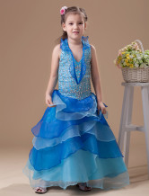 Robe du cortge enfant boule bleue royale en organza  licou 
