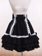 Black Cotton Pleated Lolita Skirt