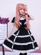 Lolitashow Cotton Black Lace Bow Short Sleeves Gothic Lolita Dress