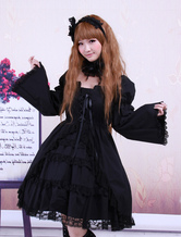 Lolitashow Cotton Black Lolita OP Dress Long Sleeves Lace Trim