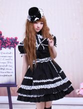 Cotton Black Short Sleeves Lace Cotton Gothic Lolita Dress