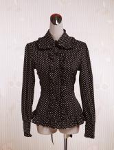 Lolitashow Cotton Black White Dots Lolita Blouse Long Sleeves Ruffles