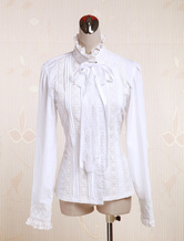Lolitashow White Cotton Lolita Blouse Long Sleeves Stand Collar Lace Trim Lace Up