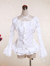 Lolitashow White Cotton Lolita Blouse Long Hime Sleeves Neck Straps Lace Trim Ruffles
