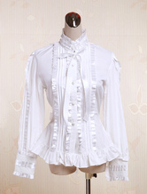 Lolitashow White Cotton Lolita Blouse Long Sleeves Stand Colalr Lace Bow Layered Ruffles
