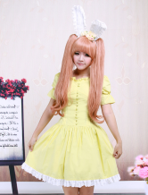 Lolitashow Yellow Cotton Lace Square Neck Short Sleeves Lolita One-Piece