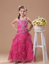 Gorgeous Fuchsia Organza Floor Length Little Girl's Dress