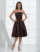 Chocolate Short Strapless Satin Prom Gown