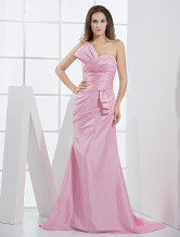 Pink Taffeta Mermaid Trumpet Ladies Special Occasion Dress