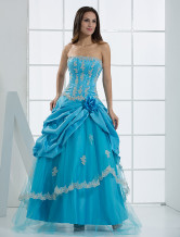 Unique Blue Net Strapless Floor Length Womens Evening Dress