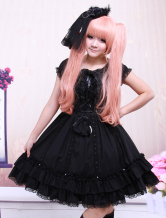 Black Short Sleeves Bow Applique Cotton Classic Lolita Dress