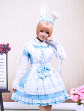 Cotton White And Blue Long Sleeves Sweet Lolita Dress