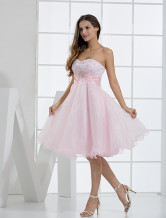 Cute Pink Sweetheart Neckline Tulle A-line Womens Homecoming Dress