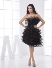 Noble Black Strapless Tulle Womens Homecoming Dress