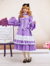 Purple Blue Cotton Classic Lolita Dress