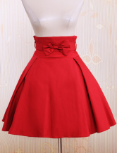Semplice Dark Red Bow Cotton Skirt Lolita