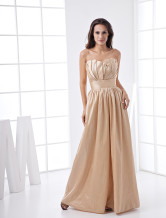 A-line Champagne Taffeta Strapless Floor Length Bridesmaid Dress