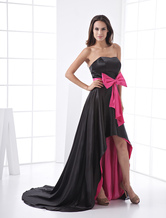 A-line Strapless Satin Empire Waist Sash Long in Back Short in Front Prom Dress