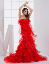 Attractive Red Organza A-line Sweetheart Sweep  Mardi Gras Dress