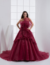 Burgundy Organza Net Sweetheart Sweep A-line  Mardi Gras Dresses
