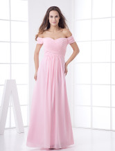 Glamorous Pink Chiffon A-line Maxi Bridesmaid Dress