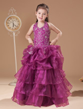 Gorgeous Rose Soft Yarn Floor Length Girls Pageant Dress