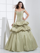 Off-The-Shoulder Beading Embroidery Taffeta Ball Gown Dress