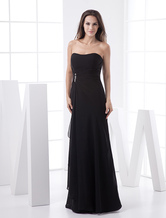 Slim Black Chiffon Strapless Floor Length Bridesmaid Dress