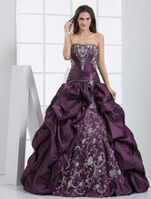 Splendid Grape Purple Taffeta Strapless Pleated Floor Length Prom Dress
