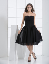 Sweet Black Chiffon Sweetheart Knee Length Cocktail Dress