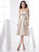 Classic Strapless Sash Bow Tea Length Satin Prom Dress