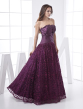 Popular Grape Organza Strapless Floor Length Womens Evening Dress