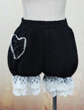 Lolitashow Cute Black Cotton Lolita Bloomers Heart Shape Pocket Lace Trim Bow Ribbon