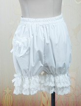 Lolitashow Lovely White Cotton Lolita Bloomers Lace Trim Heart Shape Pocket Bow Ribbon