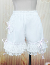 Lolitashow White Cotton Loilita Bloomers Lace Trim Heart Shape Pocket Bow Ribbon