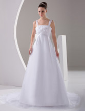 A-line White Net Square Collar Sweep Empire Waist Wedding Dress