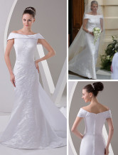 Classical White Satin Floor Length Off-the-shoulder Celebrity Wedding Dresses