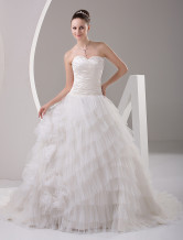 Fabulous Rococo White Ball Gown Sweetheart Yarn Bridal Wedding Dress