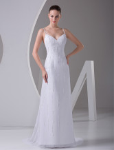 Sheath Spaghetti V-Neck Backless Wedding Dress