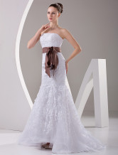 White Lace Strapless Sash Womens Spring 2012 Wedding Trends