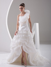 White Rococo One-Shoulder Ruffles A-line Beading Bridal Wedding Dress