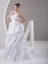 White Rococo Strapless Satin Flower Decoration Ball Gown Wedding Dress